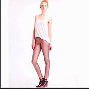 Rag & Bone Rose Gold Coated Legging Jeans